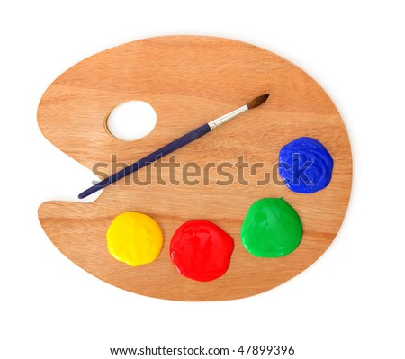 Artist's palette and brush isolated on white background - stock photo