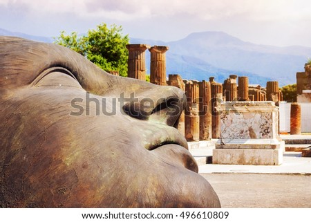 29.04.2016 - Artwork by the Polish sculptor Igor Mitoraj displayed at the ancient town of Pompeii, Italy