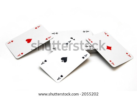 4 ases and other cards - stock photo