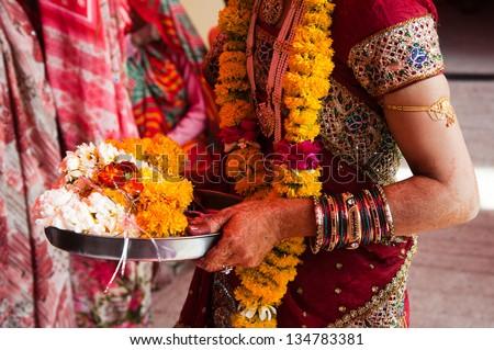 Asian Bridal Henna,intricate designs from Indian art/Henna,Mehndi/India - stock photo