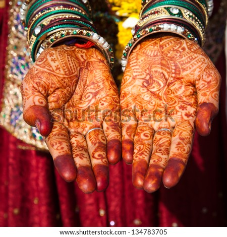 Asian Bridal Henna,intricate designs from Indian art/ Henna - Mehndi/India - stock photo