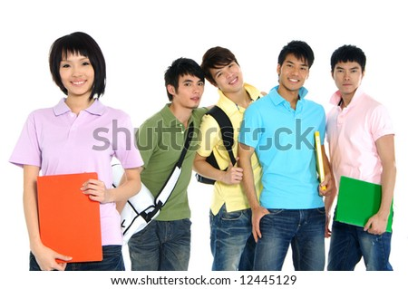 5 Asian happy university students over a white background-focus on girl in pink