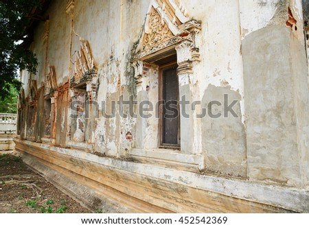 \Asian religious architecture. Ancient Buddhist pagoda ruins at temple in thailand               - stock photo