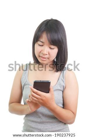 Asian woman on phone - stock photo