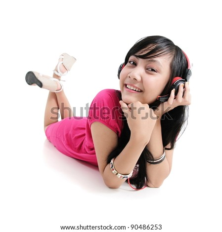 Asian woman with headphones, isolated on white background