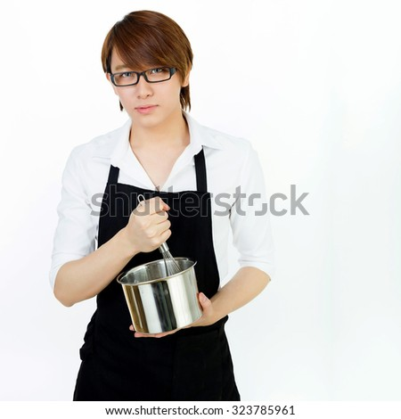 asian young cooking man