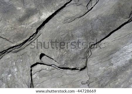 Aspect and texture of a black schist slab. - stock photo
