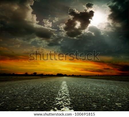asphalt road. Shallow depth of field - stock photo