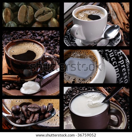 assembly with pictures of coffee, milk, sugar and grains - stock photo