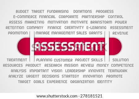ASSESSMENT word of business on red line - stock photo