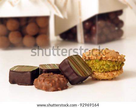 Assorted confectionery chocolate and cookies. - stock photo