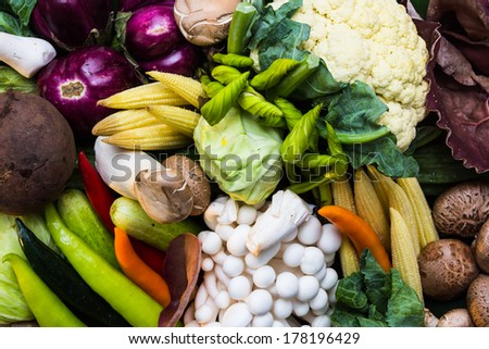 Assortment of fresh vegetables close up for healthy and diet. - stock photo