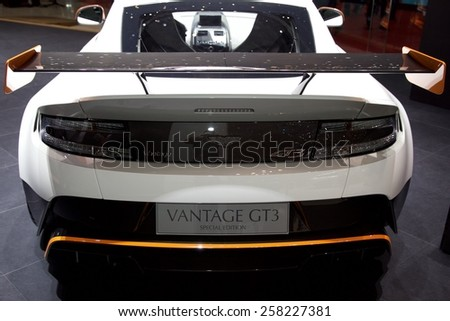 2015 Aston Martin Vantage GT3 presented  the 85th International Geneva Motor Show on March 3, 2015 in Palexpo, Geneva, Switzerland