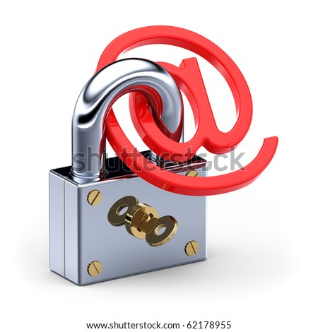 'at' symbol  in padlock 3d. Internet E-mail Safety concept - stock photo