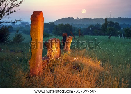 At the Karaite cemetery in the village Zalukva near Galich (Ivano-Frankivsk region, Ukraine) remained around 200 gravestone monuments. The oldest of them dated from the mid-XVIII century - stock photo