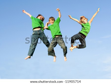 ********Attention..SECOND AND THIRD BOY ARE THE SAME BOY, THEREFORE ONLY TWO RELEASES******* three boys jumping - stock photo