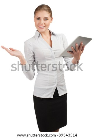 Attractive young  business woman holding electronic tablet - stock photo