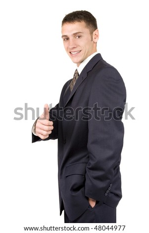 Attractive young businessman isolated on white background