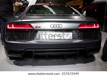 2015 Audi R8 presented  the 85th International Geneva Motor Show on March 3, 2015 in Palexpo, Geneva, Switzerland