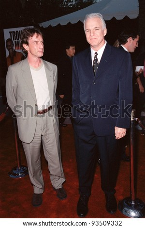 "10AUG99: Actors STEVE MARTIN and MARTIN SHORT at the Los Angeles premiere of Steve Martin's new movie ""Bowfinger"" in which he stars with Eddie Murphy & Heather Graham.  Paul Smith / Featureflash - stock photo"