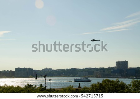 28 AUG 2016. Editorial photo. The helicopter is flying above the Manhattan and Hudson River. New York City helicopter tour. Summer. USA