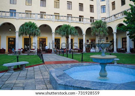 17 Aug 2017. Hotel National, Havana, Cuba. A historic luxury hotel used during the Revolution coup and today hosts diplomats and many important guests, including artists, actors, athletes and writers.
