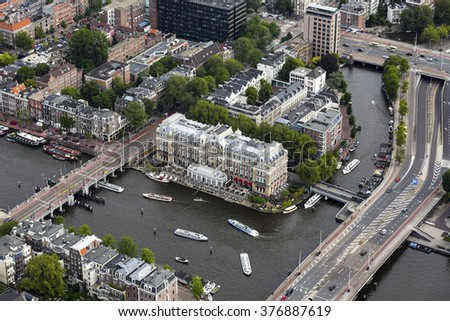 29 August 2015, Amsterdam. Aerial view of luxurious Amstel Hotel in the Netherlands. The official name of the hotel is Intercontinental Amstel Amsterdam.