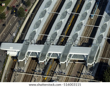 30 August 2016, Arnhem, Netherlands. Aerial view of the roof and platforms of the new Central Train Station, ARNHEM CENTRAAL. The architectural design is from the UNStudio.