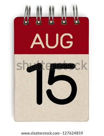 15 august calendar - stock photo