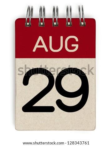 29 august calendar - stock photo