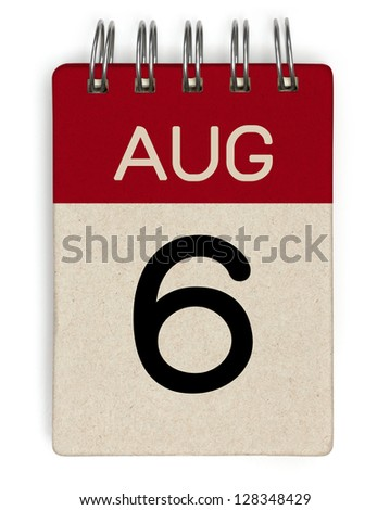6 august calendar - stock photo