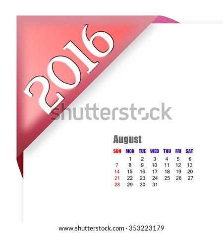 2016 August calendar - stock photo