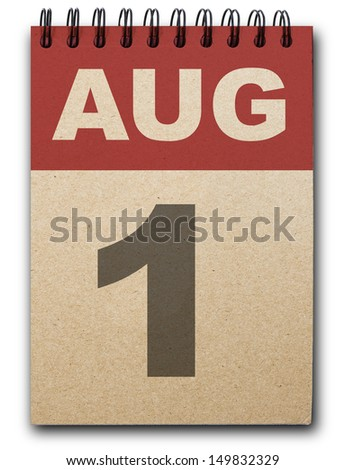 1 August calendar on recycle paper - stock photo