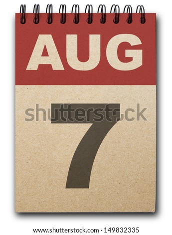 7 August calendar on recycle paper
