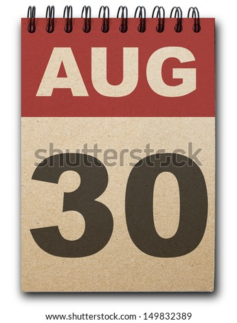 30 August calendar on recycle paper - stock photo