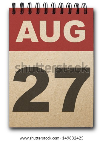 27 August calendar on recycle paper - stock photo
