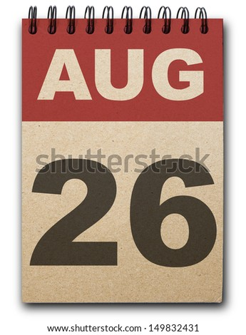 26 August calendar on recycle paper - stock photo
