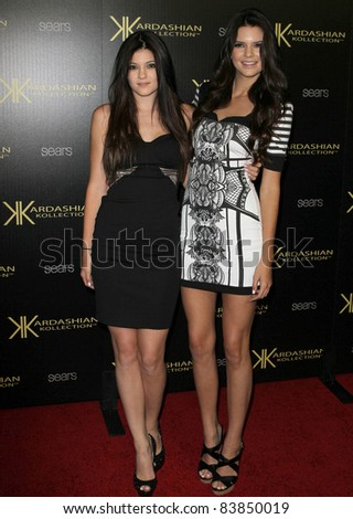 17 August 2011 - Hollywood, California - Kylie Jenner, Kendall Jenner. Kardashian Kollection Launch Party Held at The Colony. Photo Credit: Kevan Brooks/AdMedia - stock photo