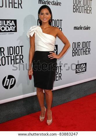 "16 August 2011 - Hollywood, California - Olivia Munn. ""Our Idiot Brother"" - Los Angeles Premiere Held at The Cinerama Dome. Photo Credit: Kevan Brooks/AdMedia - stock photo"
