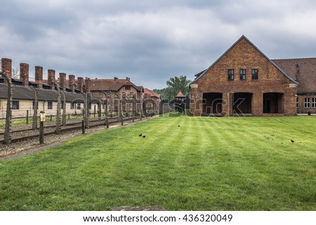 Auschwitz I Concentration camp courtyard, Poland - stock photo
