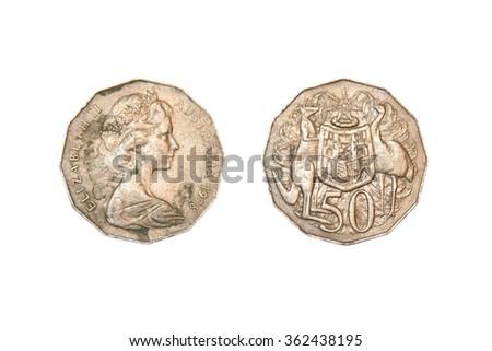 50 Australian cents Coins Australia - stock photo