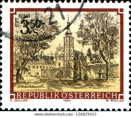 "AUSTRIA - CIRCA 1984: A stamp printed in Austria shows  Geras Monastery, Lower Austria,  from the series ""Monasteries and Abbeys in Austria"", circa 1984"