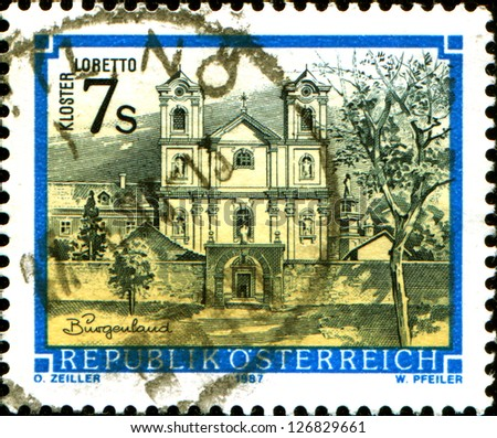 "AUSTRIA - CIRCA 1987: A stamp printed in Austria shows  monastery Lobetto, Burgerland, from the series ""Monasteries and Abbeys in Austria"", circa 1987"