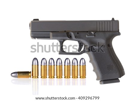 Automatic 9 m.m handgun pistol with bullet 9 m.m lead round nose isolated on a white background - stock photo