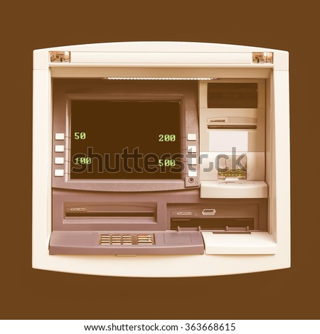 Automatic Teller Machine (ATM) for cash withdrawal at a bank vintage
