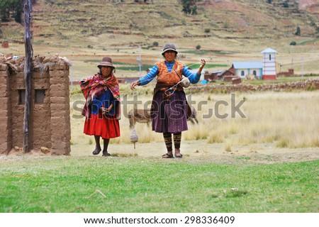 Aymara women - stock photo