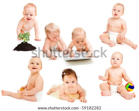 'Babies in diaper' collection - stock photo