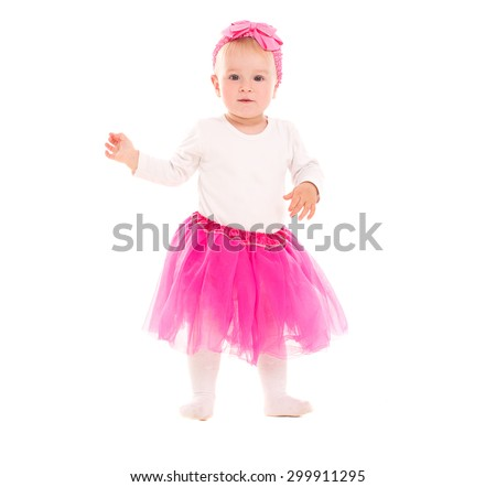 baby girl blonde in a pink tutu skirt, isolated on white background - stock photo