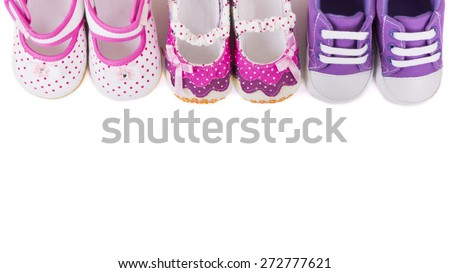 baby girl shoes isolated on white background - stock photo