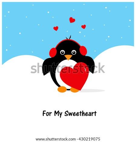 Baby Penguin - Valentine's - stock photo